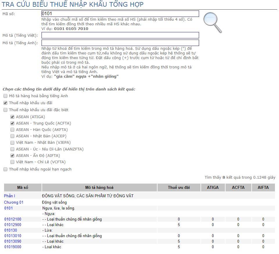 Tra cứu thuế suất xnk trên web TCHQ