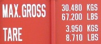 Gross & Tare weight of a 40'