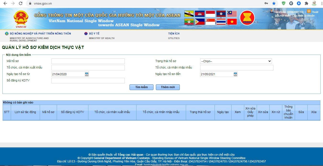 Đăng ký kiểm dịch thực vật trên cổng thông tin