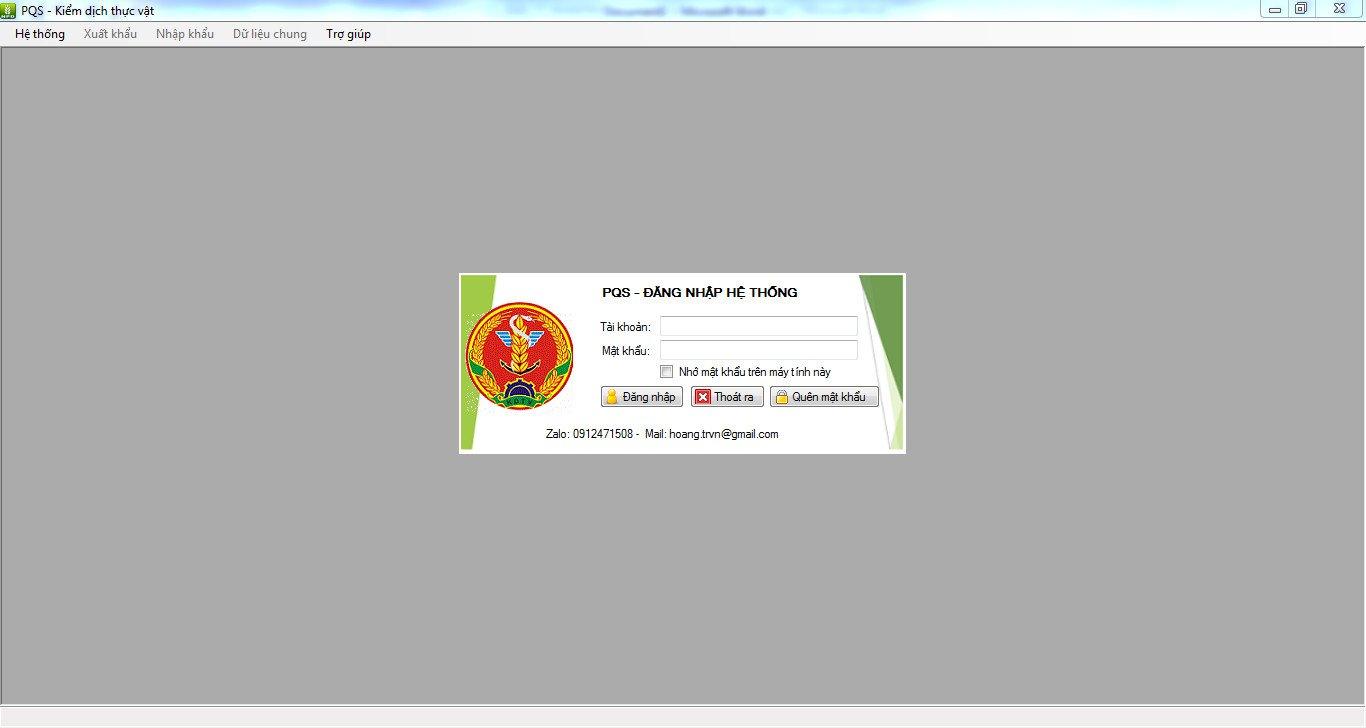 Đăng nhập phần mềm kiểm dịch thực vật