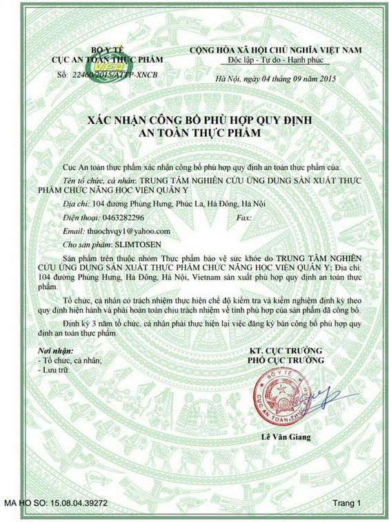 Công bố phù hợp quy định ATTP